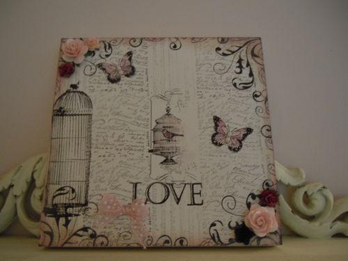 OOAK Pink Vintage LOVE Birdcage PLAQUE Flowers Shabby Chic Bedroom Boudoir Shelf | eBay