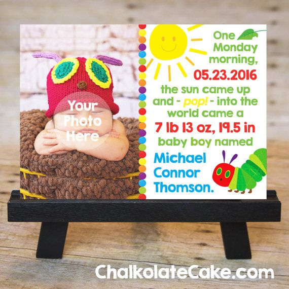 VERY HUNGRY CATERPILLAR Baby Birth Announcement by ChalkolateCake