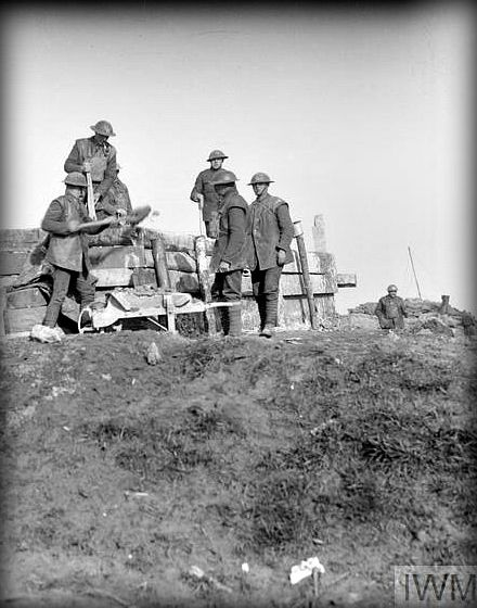 WWI, 18 Feb 1918; Troops of the Royal Engineers constructing concrete strong point in a reserve line at Wieltje. © IWM (Q 10264)
