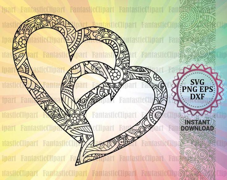 Download Two Heart Svg, Two Heart Design, Heart Mandala Svg, Love ...