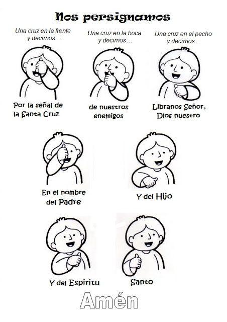 Recurso para enseñar a los niños a hacer la Señal de la Cruz. #catequesis