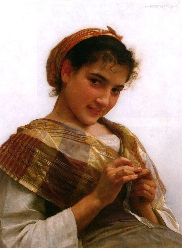 William-Adolphe Bouguereau - Портрет молодой девушки. Вязание крючком, 1889
