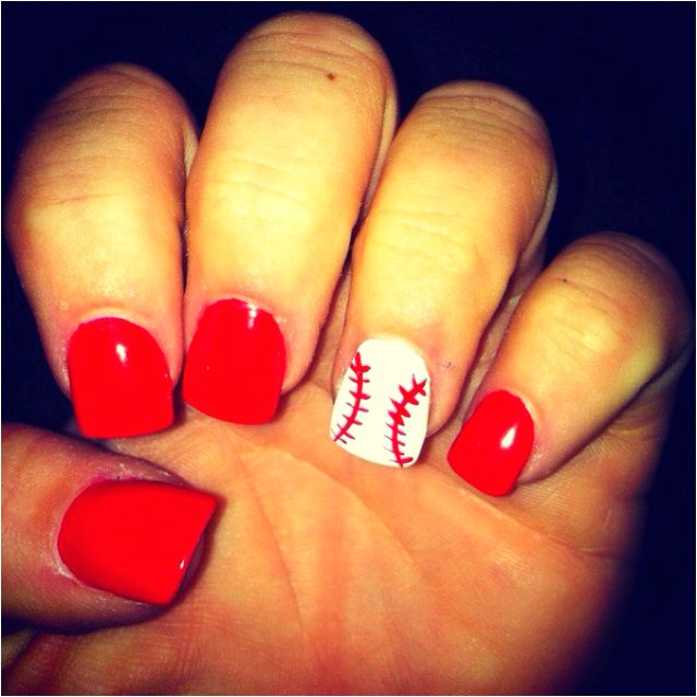 These are perfect Texas ranger nails all they need is a little blue but you can put that in your outfit .