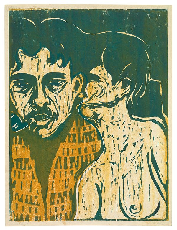 ERNST LUDWIG KIRCHNER  Maler und Modell - Dichter und Weib (painter and model – poet and woman) Farbiger Holzschnitt (color woodcut) 1907  Galerie Kornfeld Online-Catalogue