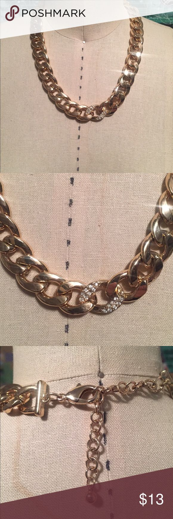 Gold necklace Thick gold chain necklace. One piece features gems stones. Macy's Jewelry Necklaces
