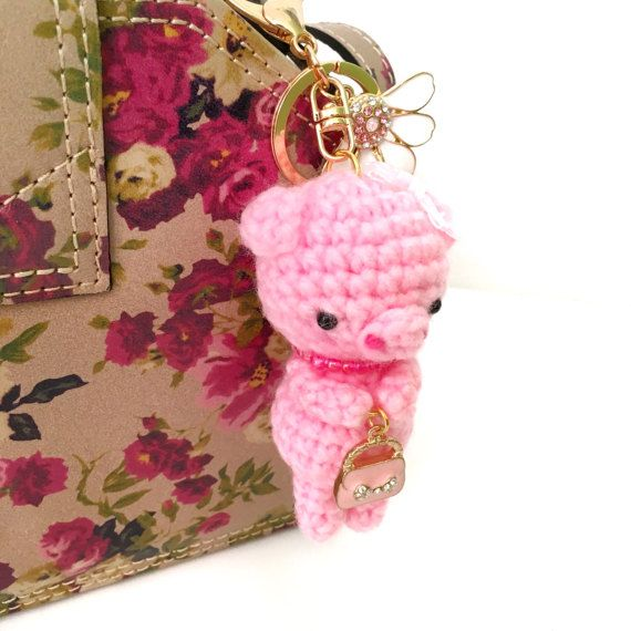 Pink Piggy Bag Charm Crochet Pig Key Chain by AmiAmiGocco on Etsy