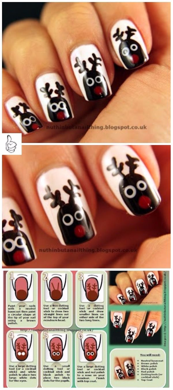 The 25 best diy reindeer nails ideas on pinterest diy xmas easy diy christmas nail art ideas diy rudolph the red nose reindeer nails art tutorial prinsesfo Choice Image