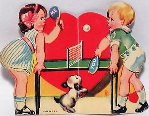 J275 30s Dog Watches Kids Play Ping Pong! Vintage Diecut Valentine Card