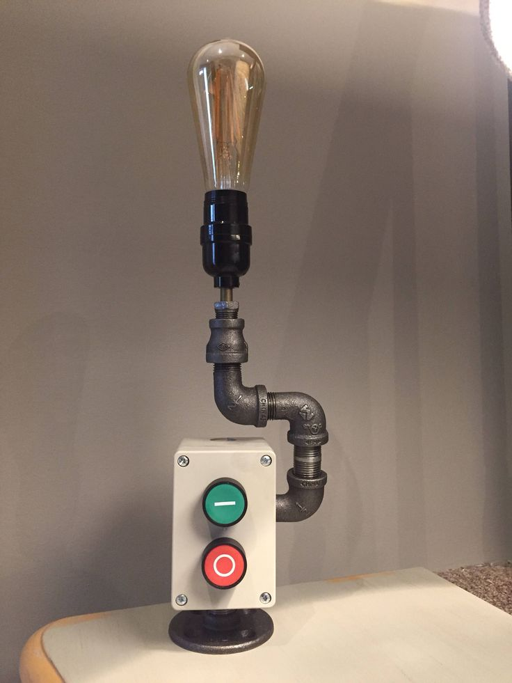 Table or desk lamp with Start and Stop push buttobs to turn the lamp on and off. Comes with Edison bulb. by BossLamps on Etsy https://www.etsy.com/ca/listing/575785334/table-or-desk-lamp-with-start-and-stop