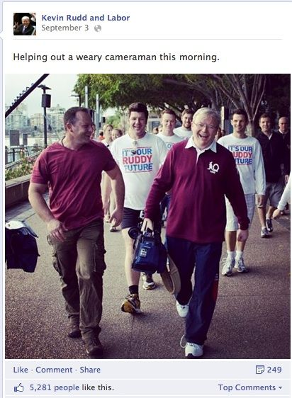 Then Prime Minister Kevin Rudd helping a cameraman