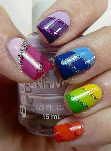 colorful nail design with giltter