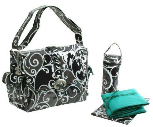 "Surf Laminated Diaper Bag (Black/White) (11""H x 6""W x 14""D) by Kalencom Kalencom http://www.amazon.com/dp/B001NPQ44W/ref=cm_sw_r_pi_dp_sP-bub1NM3Z41"