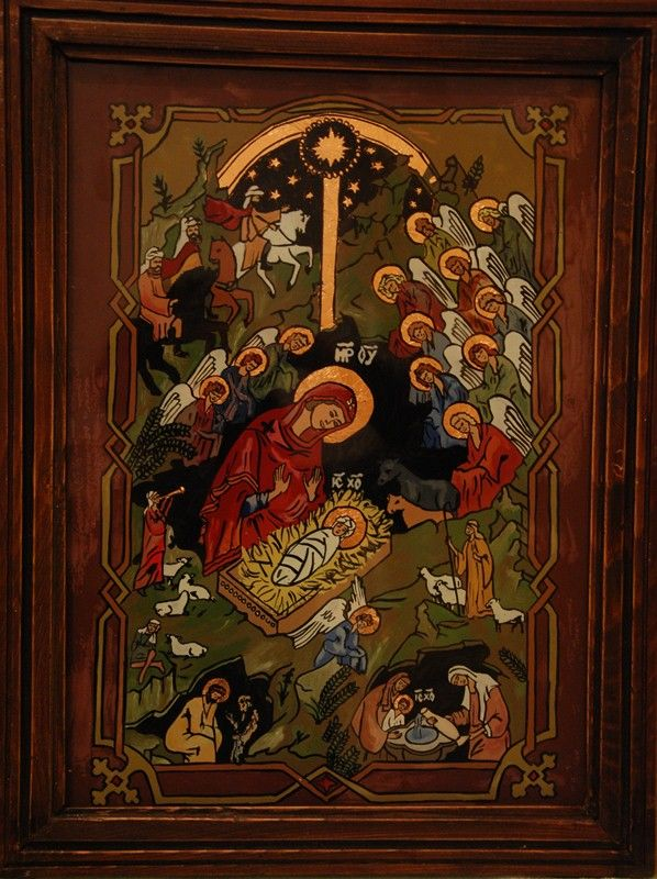 The Nativity of Our Lord and Saviour Jesus Christ - icon on glass; Orthodoxy