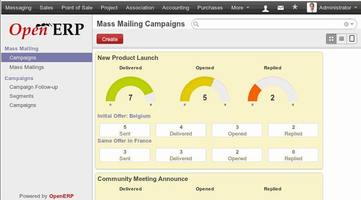 Odoo vă oferă posibilitatea să trimiteți ușor email-uri în masă, atât prospecților, cât și clienților.