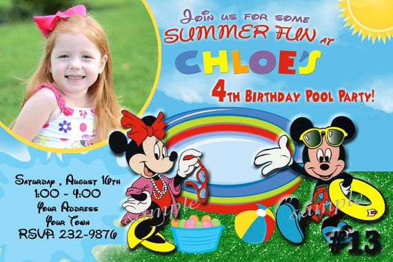 20 Mickey Mouse Invitation POOL PARTY / Photo by LetsPartyShoppe, $20.00