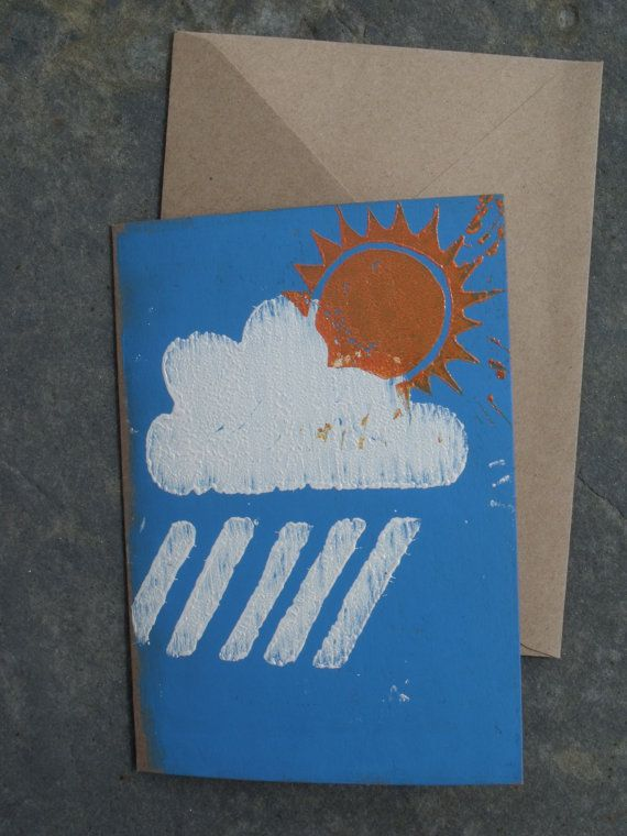 Handprinted woodblock sunny weather greeting by BarnesGoodman