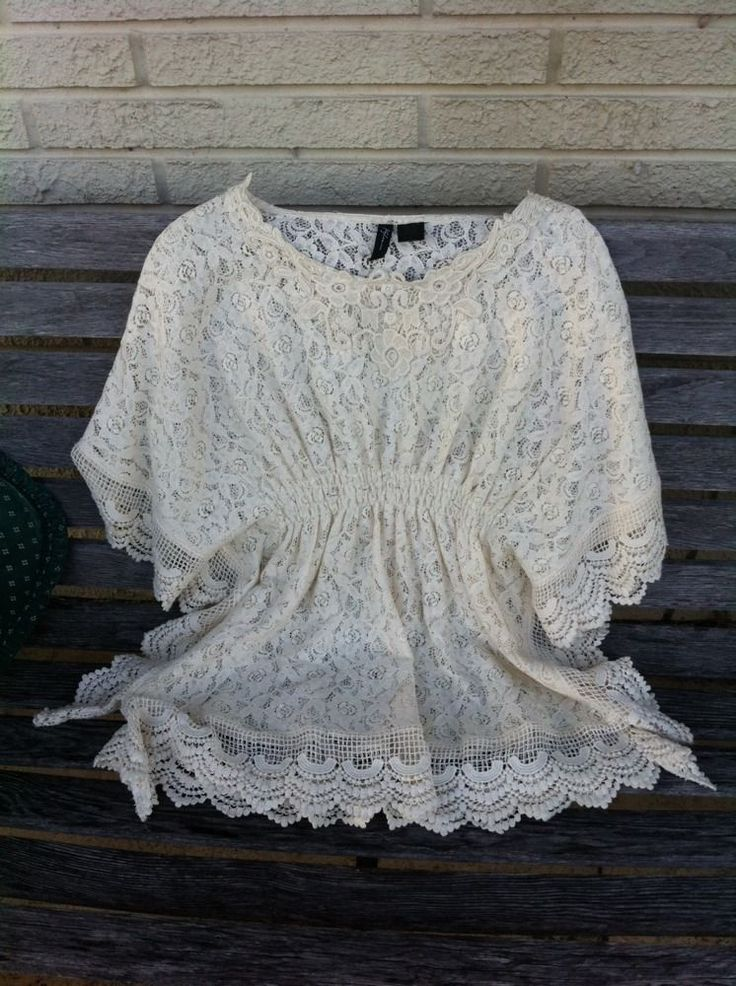 Goregeous Kylee Crochet Lace Boho Festival Poncho Top M #Kylee #Tunic #Casual