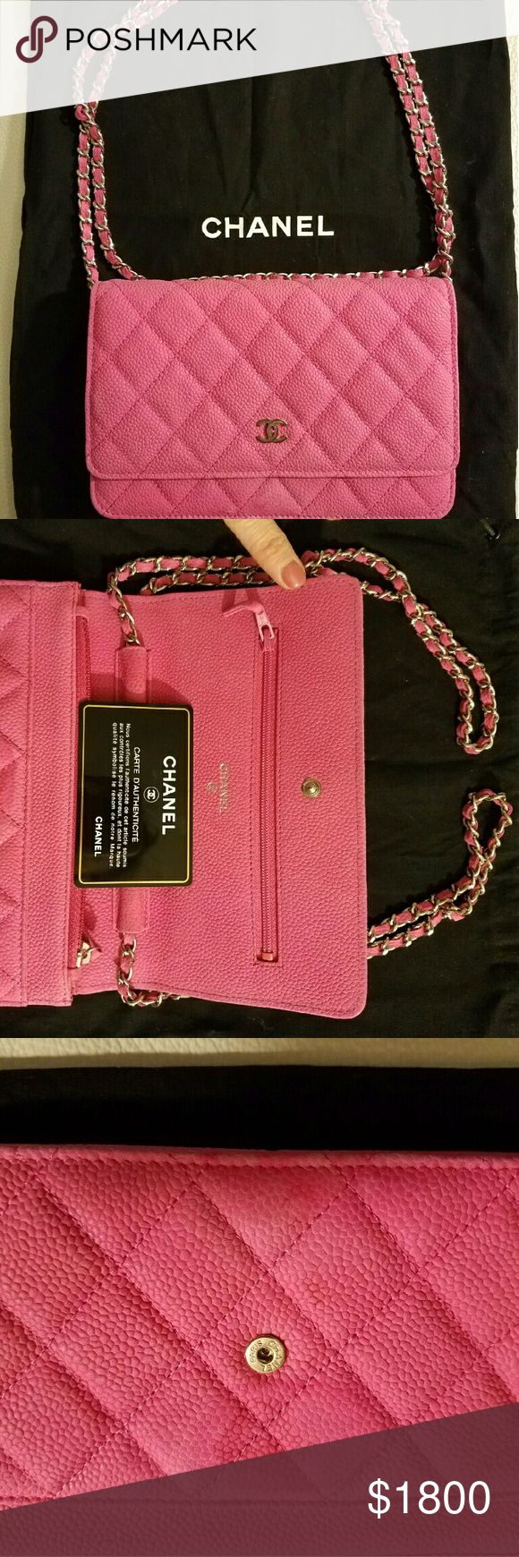CHANEL WOC Pink Suede Bag Excellent condition. I wore once and spilled lash glue on inside of flap (show in picture). Comes with Authenticity Card, Original Price Tag, Cloth Bag and Box. CHANEL Bags Crossbody Bags