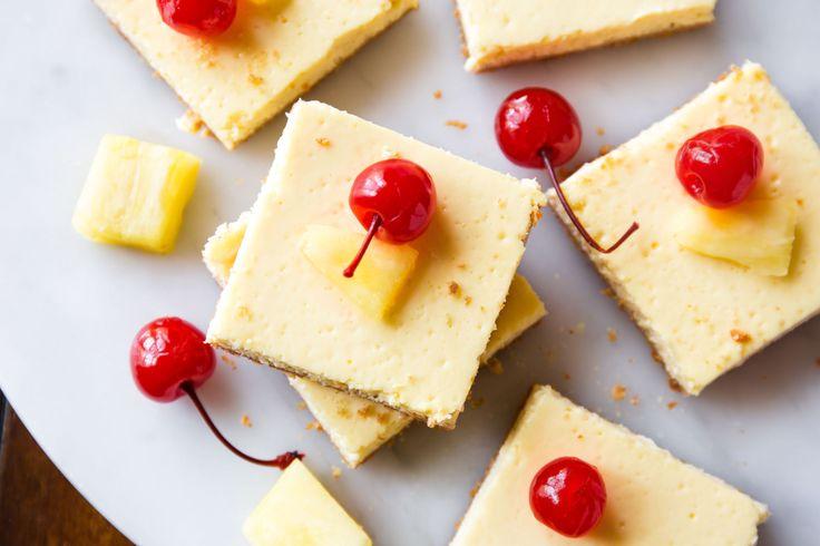 These Skinny Pineapple Cheesecake Bars Taste Like Summer   - Delish.com