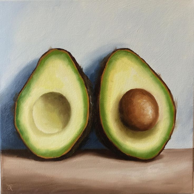 FineArtSeen - Avocado halves by Jane Palmer. This original abstract painting is full of colour and comes from the collection on FineArtSeen. Click to view more art at great prices from the Home Of Original Art. << Pin For Later >>