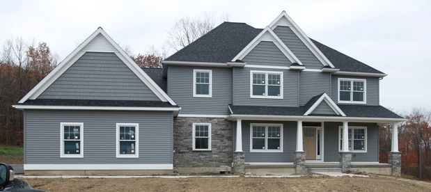 Deep Granite With A Similar Door Color Grey Siding