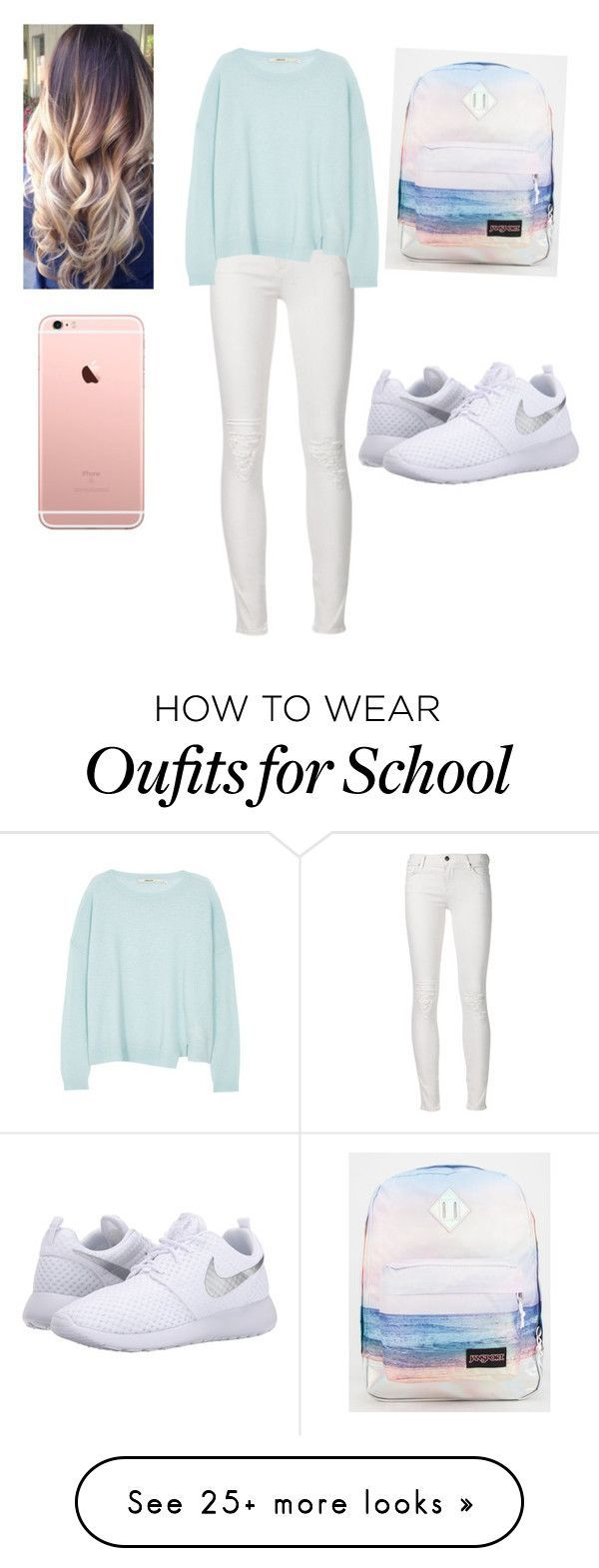 """""""Nice for school"""" by maddylopez1027 on Polyvore featuring J Brand, NIKE, JanSport, women's clothing, women's fashion, women, female, woman, misses and juniors"""