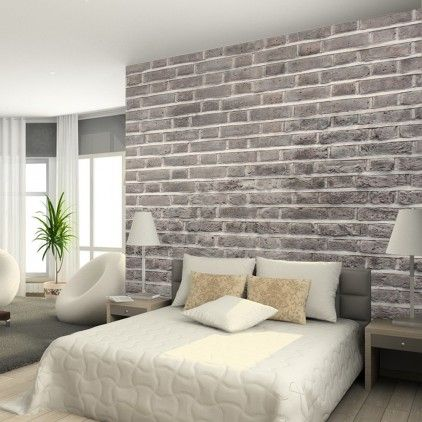 Charcoal brick wallpaper from watts london made by watts for Grey wallpaper bedroom