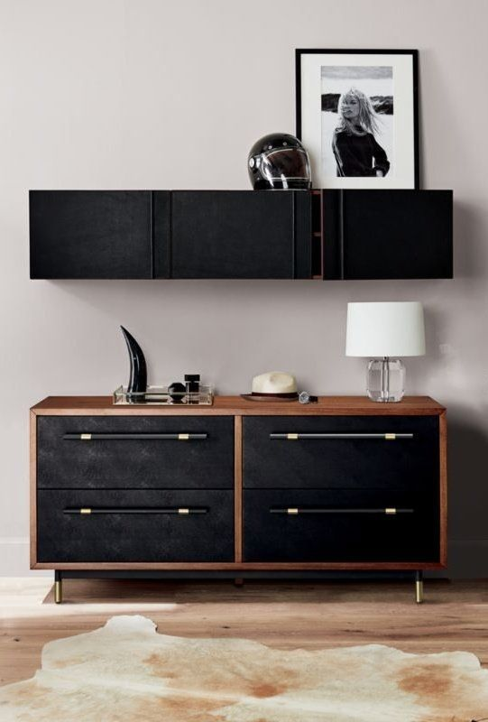 Genuine Black Leather Puts A Handsome Face On Hardworking Wall Storage Solid Acacia Wall Mounted Cabinet Is St In 2020 Low Dresser Leather Wall Modern Storage Cabinet