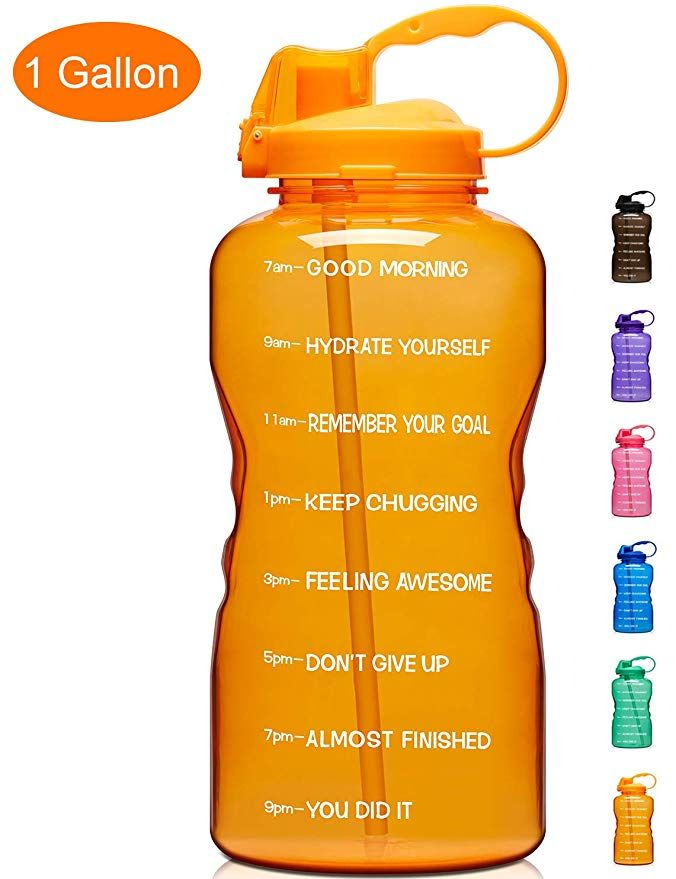Leakproof 1 Gallon//128 OZ Water Bottle with Straw /& Time Marker BPA Free