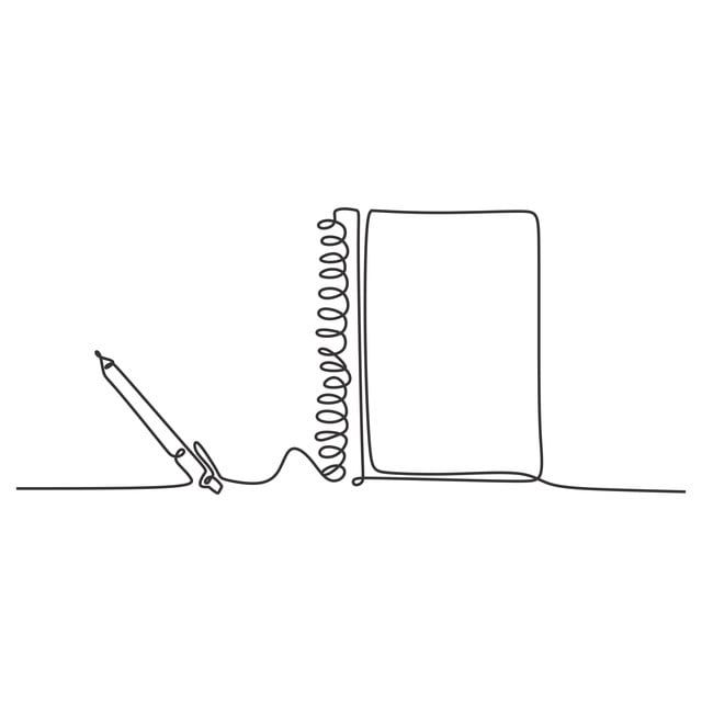 Pen And Book Continuous One Line Drawing Minimalist Design Education Theme Book Pen Vector Png And Vector With Transparent Background For Free Download Simple Line Drawings Notebook Drawing Line Art Drawings