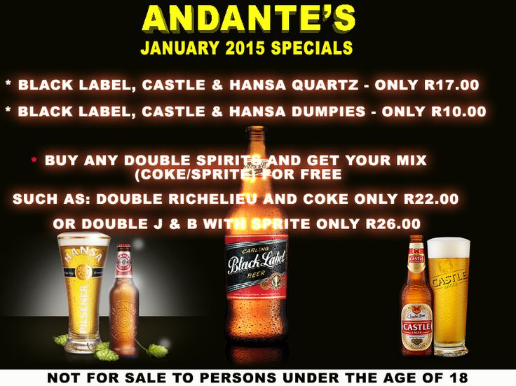 Great January Specials Going on at Andante's.