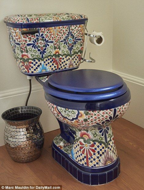 Hot seat: Nancy is particularly proud of the mosaic Mexican toilet she found and added the blue tiled around the bottom to bring it up to the right height.