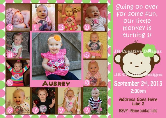 Mod Monkey Invitation Photo Mod Monkey Invite - 1st Birthday Party Girl pictures invite - 1 year old  0-12 month photos Girl invitation