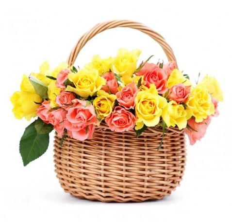 Bellissimo Cesto di roselline multicolore...un omaggio allegro adatto ad ogni occasione, preparato con stile ed un tocco di personalità da parte dei nostri esperti fioristi.