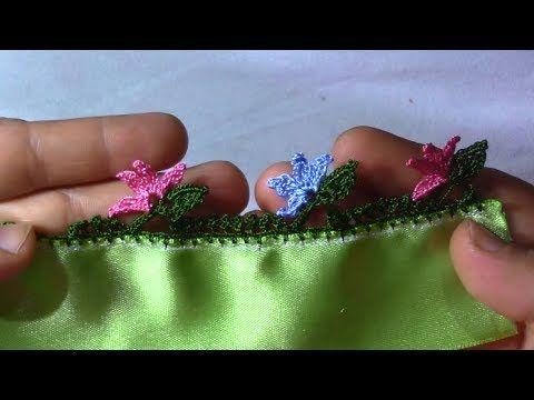 yaprak üstü çieçekli tığ oya modeli yapımı
