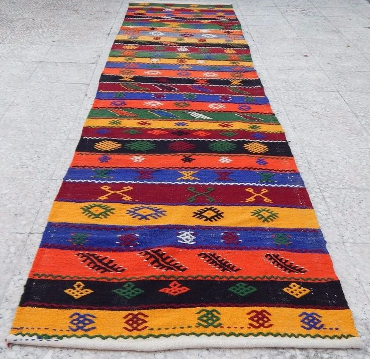 2.6x11.4 FT Vintage Woven Stripe Vivid Color Aztec Design Kilim Rug Floor Runner #Turkish