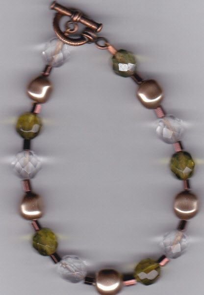 Clear, Olive Green and Bronze Glass and Pearl Bracelet by Crisseyscreations on Etsy