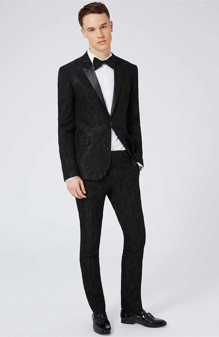 Main Image - Topman Ultra Skinny Fit Jacquard Leaf Tuxedo Jacket