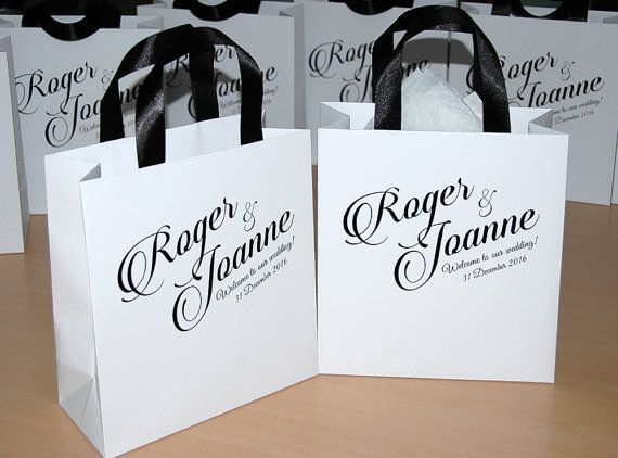 30 Gift Bags for guests with Black satin ribbon by WeddingUkraine