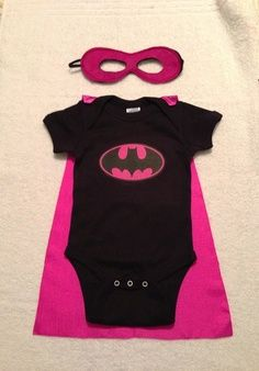 Batgirl Superhero Baby Onesie with Detachable Satin Cape and Reversible Mask, Apparel