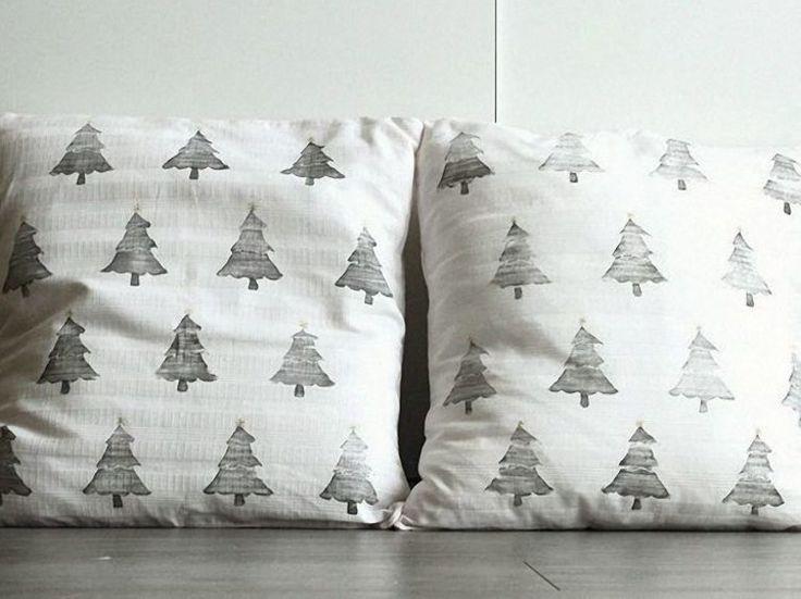 DIY-Anleitung: Kissen mit Weihnachtsbäumen bedrucken via DaWanda.com