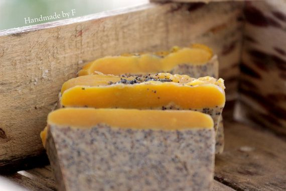 Natural soap with poppyseed and coffee no by HandmadebyFotini