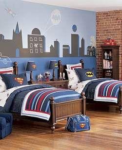 boys room ideas batman | Blue red batman superman superhero mural kids