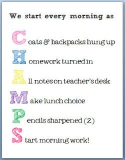 CHAMPS! acronym to help kids start the morning...love it!!