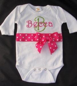 Monogrammed Onesie- Hot PinkMonograms Onesies, Onesies Baby,  T-Shirt, Baby Boutiques Clothing, Baby Gifts,  Tees Shirts, Baby Boutique Clothing, Ribbons Onesies, Baby Girls