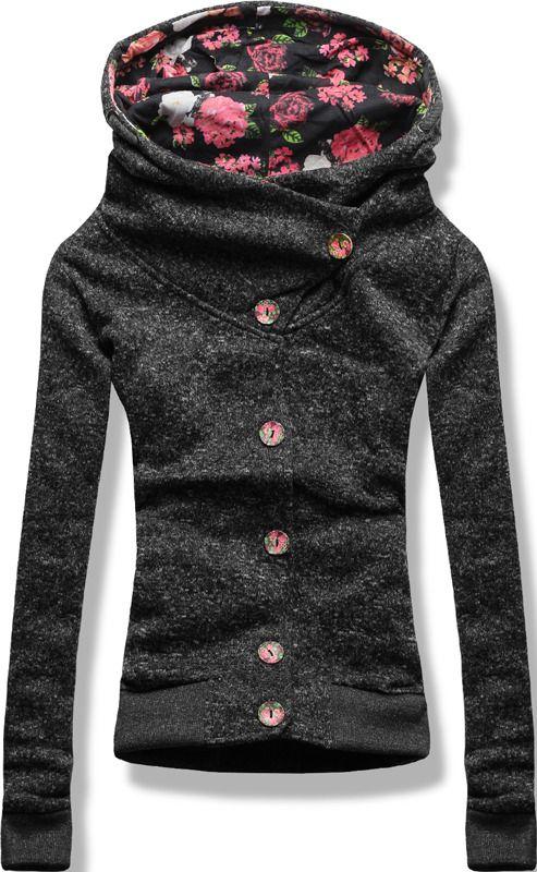 BLUZA KWIATKI GUZIKI N048 CZARNY/SZARY Ciemny Szary   Bluzy   odzież damska - netmoda.pl wykreuj swój styl