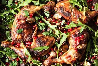 Rezept: Hähnchen-Schenkel mit Granatapfel, Walnüssen, Aubergine Bild Nr. 4