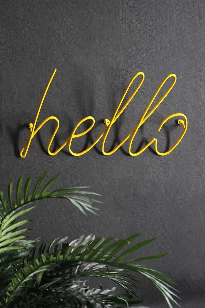 'Hello' Coat Rack – Yellow – Coat Hooks & Racks – Home Accessories