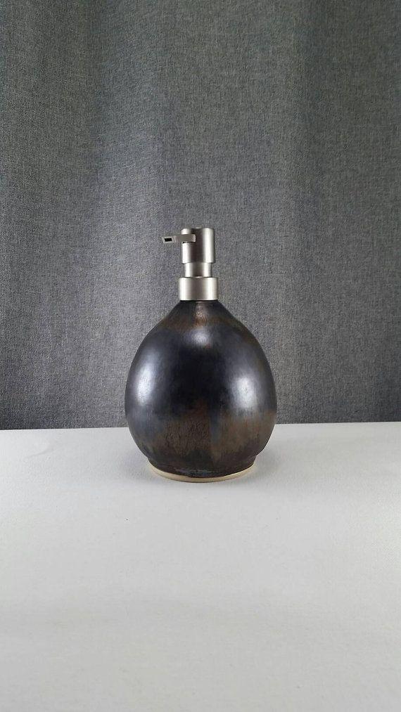 IN STOCK Ceramic Soap Dispenser Handmade Pottery by 3PointsArtwork