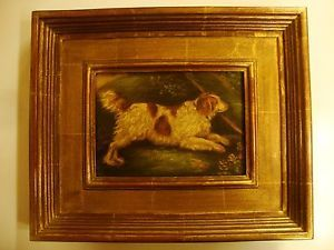 ANTIQUE ORIGINAL OIL PAINTING OF ENGLISH WATER SPANIEL DOG, GILDED FRAME, SIGNED  | eBay